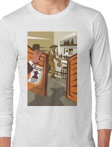 Cowboy Robber Stealing Saloon Poster Long Sleeve T-Shirt