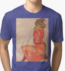 Egon Schiele - Kneeling Female in Orange-Red Dress 1910 Woman Portrait Tri-blend T-Shirt