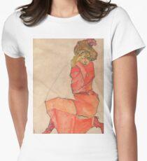 Egon Schiele - Kneeling Female in Orange-Red Dress 1910 Woman Portrait T-Shirt