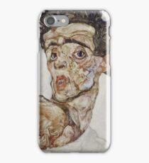Egon Schiele - Self-Portrait with Raised Bare Shoulder 1912  Expressionism  Portrait iPhone Case/Skin