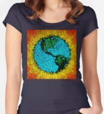 Abstract Planet Earth Pop Art Women's Fitted Scoop T-Shirt