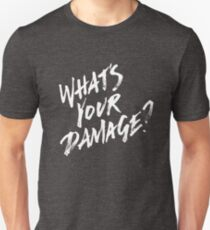 What's Your Damage? - White Text Unisex T-Shirt