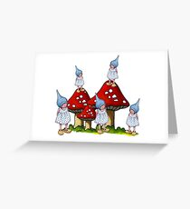 Fantasy Art: Little Gnome Girls and Toadstools Greeting Card