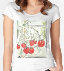 """Tomato Digital Painting (""""In the Greenhouse"""") Women's Fitted Scoop T-Shirt"""