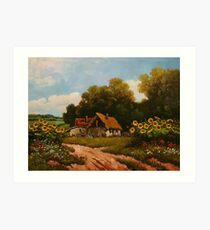 Stories from the old farm - sunflowers Art Print