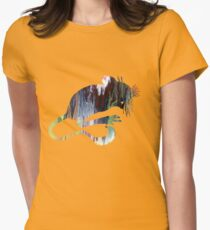 Mouse Silhouette Womens Fitted T-Shirt