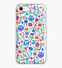 Little Owls and Flowers on White iPhone Case/Skin