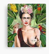 Frida con amigos Canvas Print