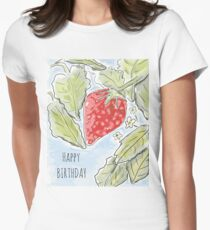 """Happy Birthday"" Strawberry Painting Women's Fitted T-Shirt"