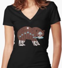 Folk Art Spirit Bear with Fish Women's Fitted V-Neck T-Shirt