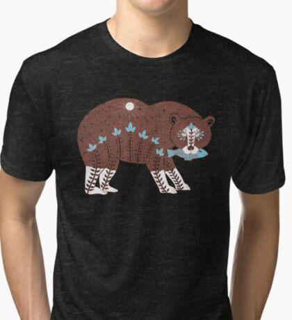 Folk Art Spirit Bear with Fish Tri-blend T-Shirt