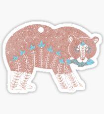 Folk Art Spirit Bear with Fish Sticker