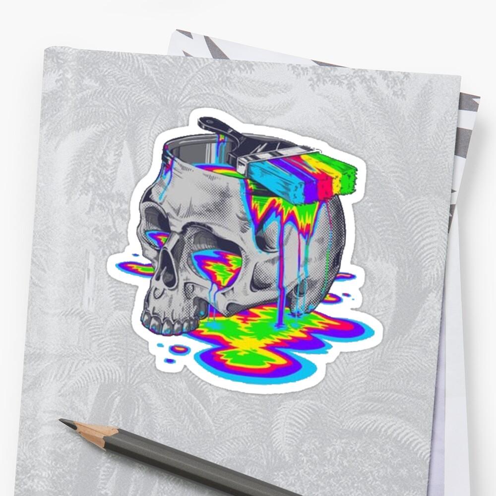 Trippy bunter Schädel Sticker