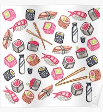 Cute Trendy Watercolor Sushi Sake and Chopsticks Poster