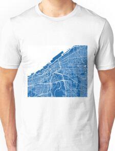 Cleveland Map - Deep Blue Unisex T-Shirt