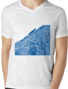 Cleveland Map - Deep Blue Mens V-Neck T-Shirt