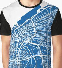 Cleveland Map - Deep Blue Graphic T-Shirt