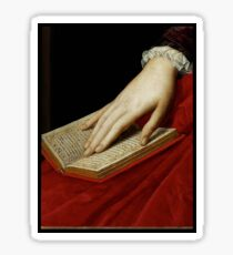Renaissance old master cropped image, hand on book Sticker