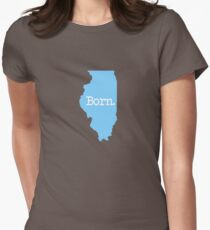 Illinois Born IL Blue Womens Fitted T-Shirt