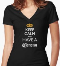 Keep calm and have a corona beer Women's Fitted V-Neck T-Shirt