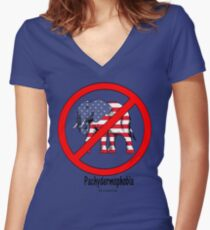PACHYDERMOPHOBIA:  Fear of Republican Politicians! Women's Fitted V-Neck T-Shirt