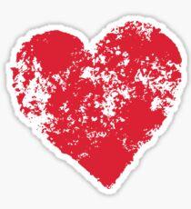 Red grunge heart Sticker