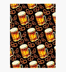 Beer & Pretzel Pattern -Black Photographic Print