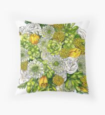 Yellow Roses & Succulents Throw Pillow