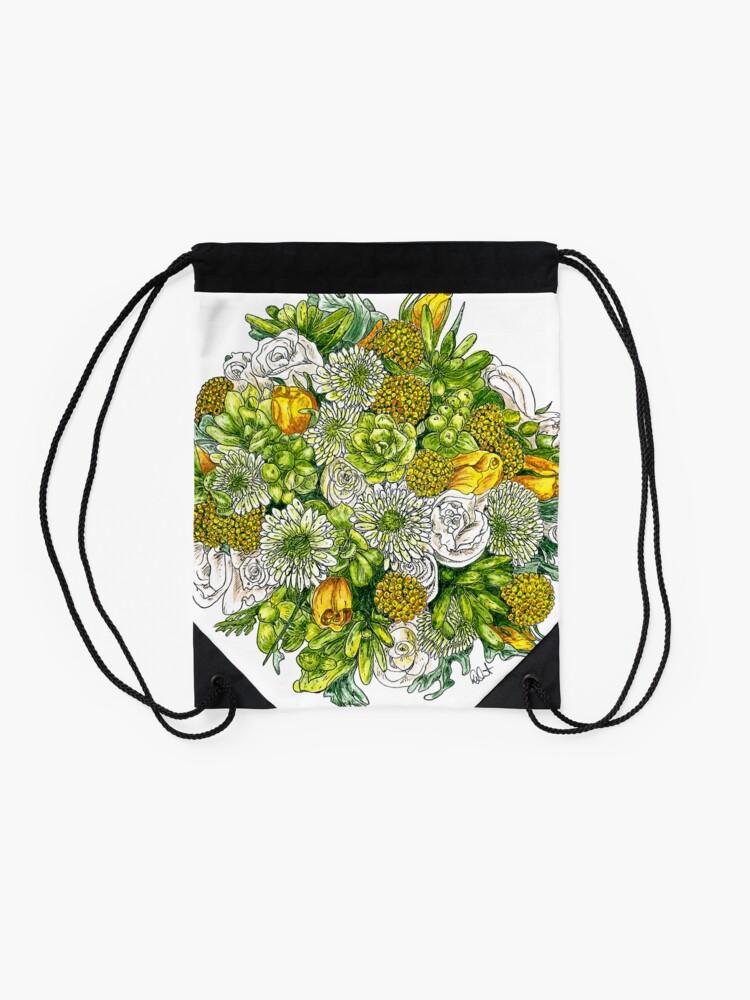 Alternate view of Yellow Roses & Succulents Drawstring Bag