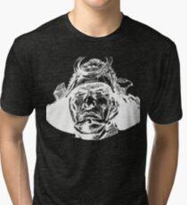 Samurai  Head White Tri-blend T-Shirt