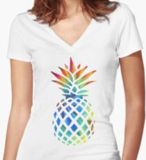 Hippy Pineapple - ONE:Print Women's Fitted V-Neck T-Shirt