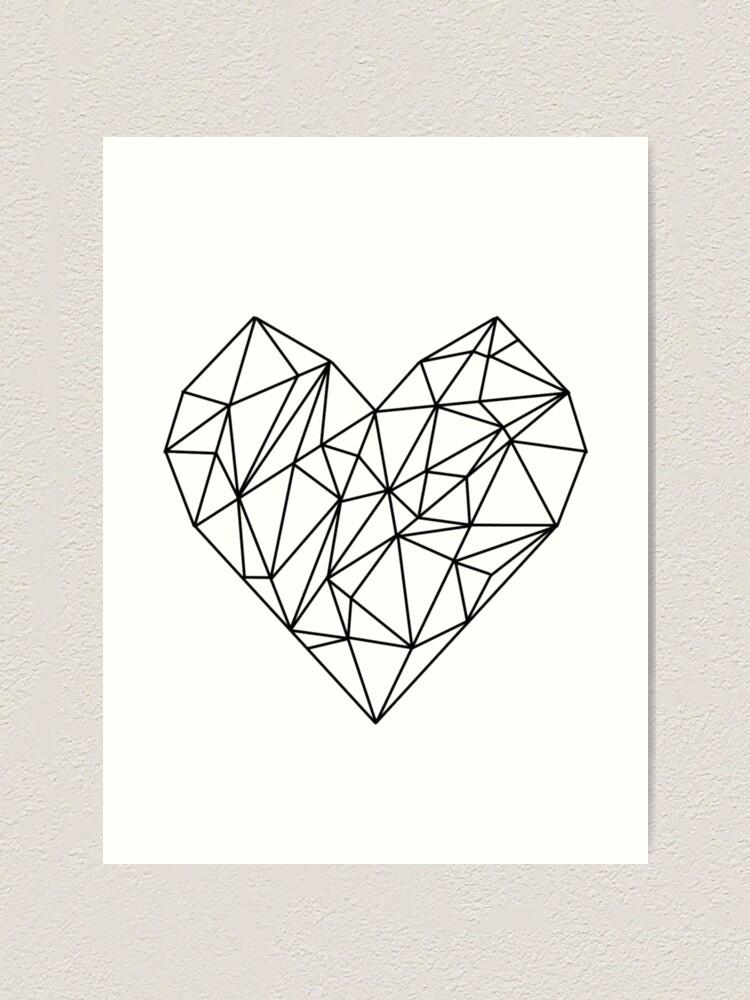 Alternate view of Geometric Heart Art Print