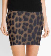 Einfarbiger Leopard-Druck Minirock