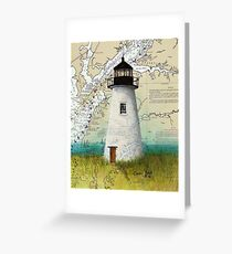 Pooles Island Lighthouse MD Nautical Chart Map Cathy Peek Greeting Card