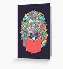 Cat reading a book. Greeting Card