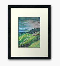 Green Hills Oil Pastel Drawing Framed Print