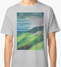 Green Hills Oil Pastel Drawing Classic T-Shirt
