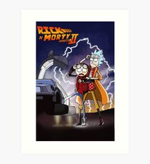 Rick And Morty Back To The Future Mash-Up Art Print