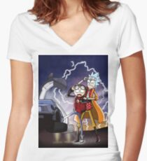 Rick And Morty Back To The Future Mash-Up Women's Fitted V-Neck T-Shirt