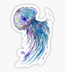 Jelly fish watercolor and ink painting Sticker