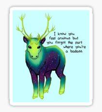"""The Part Where You're a Badass"" Galaxy Caribou Sticker"