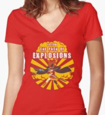 Path of Explosions Women's Fitted V-Neck T-Shirt