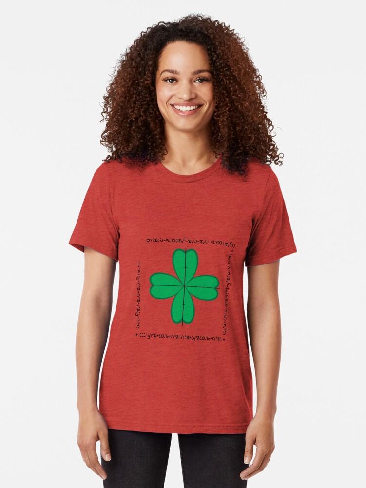 Alternate view of Mathematical four-leaf clover  Tri-blend T-Shirt
