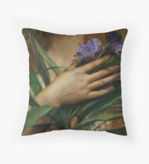 Woman Holding Irises, French Pre-Raphaelite painting Throw Pillow