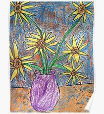 Van Gogh Inspired Flowers Poster