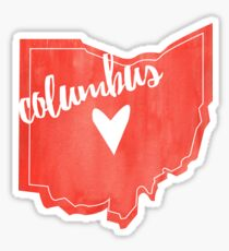 Columbus Heart Ohio Outline Watercolor Sticker