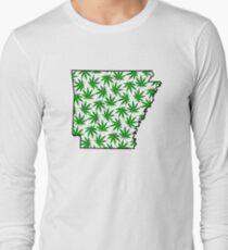 Arkansas (AR) Weed Leaf Pattern Long Sleeve T-Shirt