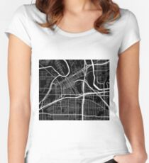 Fort Worth Map - Black Women's Fitted Scoop T-Shirt