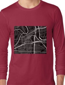 Fort Worth Map - Black Long Sleeve T-Shirt