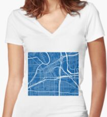 Fort Worth Map - Deep Blue Women's Fitted V-Neck T-Shirt